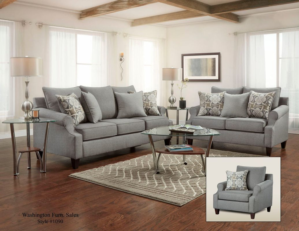 Elegant Grey Sofa and Loveseat with Accent Pillows