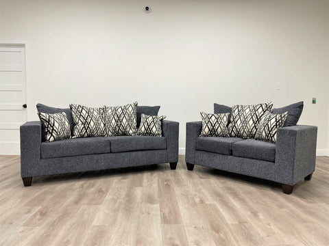 Steel grey sofa and love seat with decorative pillows- new