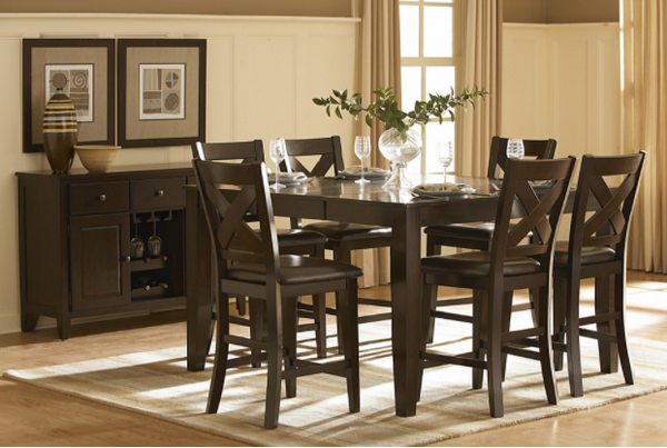 Crown Point Collection - Counter Height Table and 6 Chairs