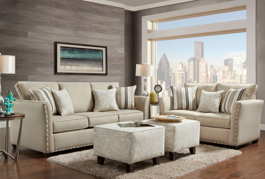 Elegant Light Colored Sofa And Loveseat With Nailhead Trim