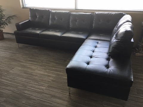 Black Bi-Cast Vinyl Sectional Barrington Collection