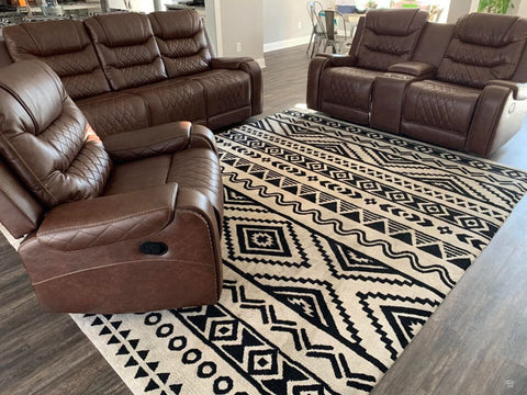 Brown leather reclining 3 pc set with traditional nailhead accent