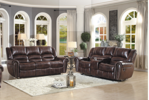 Rich Brown leather reclining 2 pc set with traditional nailhead accent