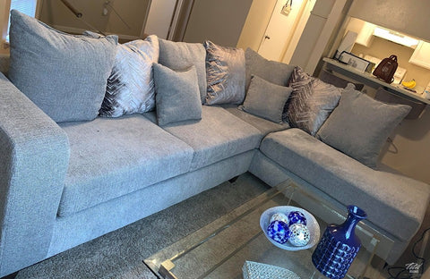 Dove Grey Sectional includes throw pillows