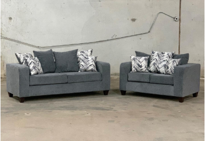 Charcoal grey sofa and love seat with decorative pillows- new