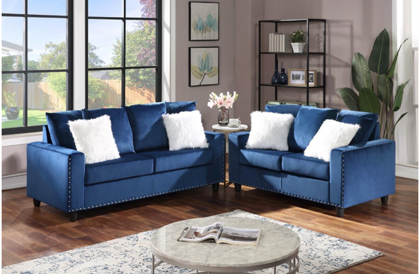 Blue Velvet Sofa & Loveseat with nailhead trim