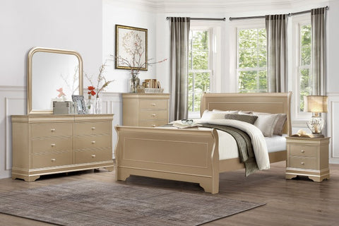 Gold sleigh bedroom set