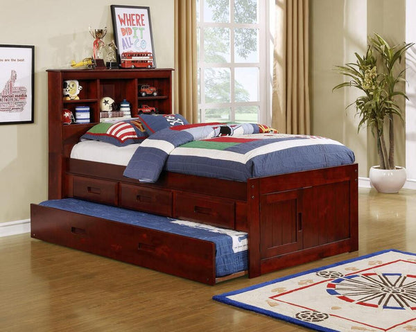 Twin Bookcase Headboard Captain Bed w/Trundle + 3 Drawers