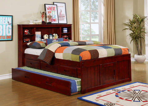 Full Bookcase Headboard Captain Bed w/Trundle + 3 Drawers
