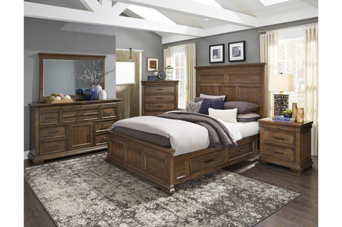 Rustic master bedroom set with weathered grey finish