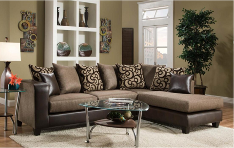 Brown Sectional includes throw pillows