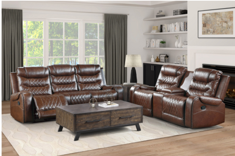 Brown leather reclining sofa and matching loveseat with traditional nailhead accent