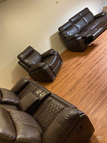 Soft brown leather 3 pc living room set