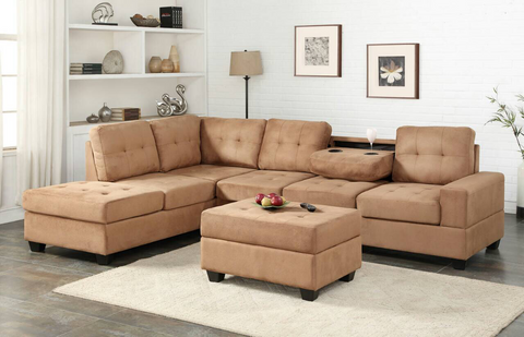 Taupe Microfiber Reversible Sectional with Drop Down Table