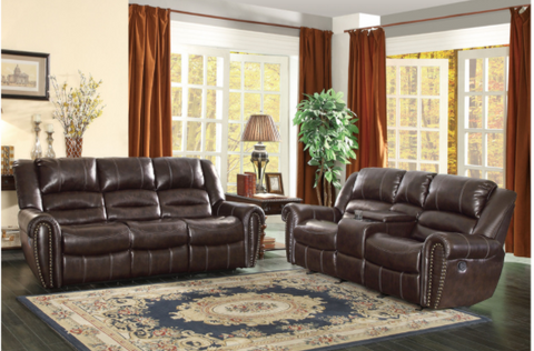 Rich Brown leather reclining 3 pc set with traditional nailhead accent