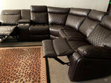 Soft brown leather reclining sectional with cup holders