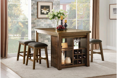 Cherrywood counterheight storage table with nailhead accent stools