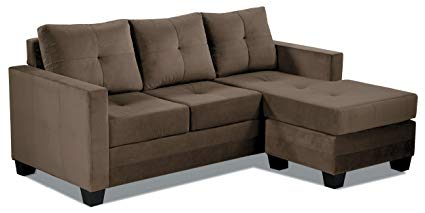 Chocolate brown reversible sectional