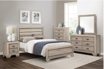 Rustic light wood King bedroom set with dovetailed drawers