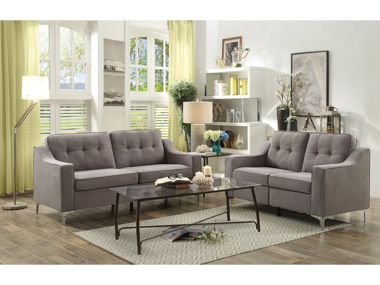Modern grey sofa and loveseat