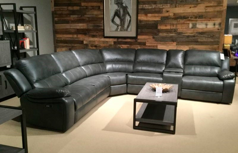 6 piece leather gel power reclining sectional with console
