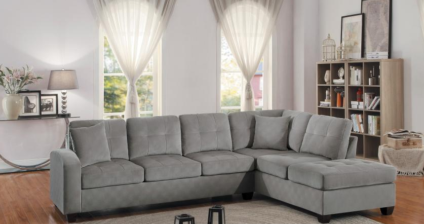 Taupe Reversible Microfiber Sectional