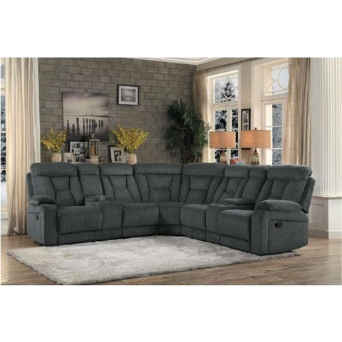 Grey fabric reclining sectional with cupholders
