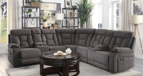 Brown fabric reclining sectional with cupholders
