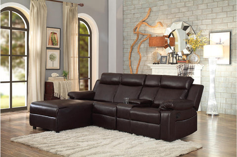 Dark brown reclining sectional with cupholders