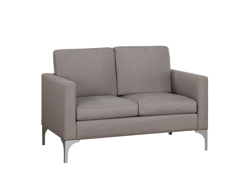 Brownish-grey fabric loveseat