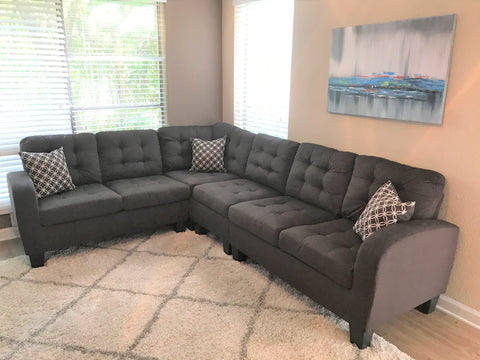 Chocolate Brown Tufted Sectional with Accent Pillows