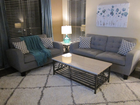 Grey Tufted Fabric Sofa and Loveseat