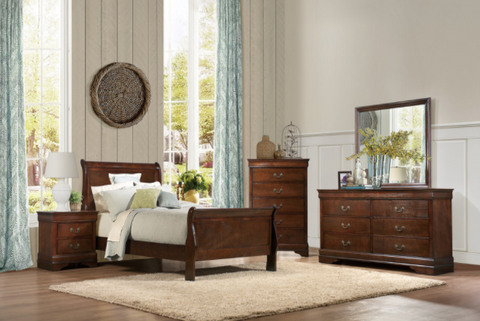 Twin Cherry Sleigh Bedroom Set- Mayville Collection