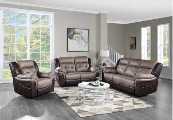 Brown two toned tufted leather reclining sofa, reclining loveseat and recliner chair