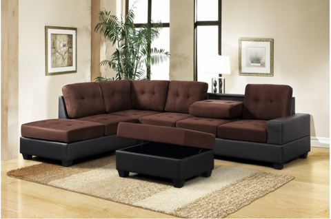 Brown reversible microfiber sectional with drop down cup holders and storage ottoman