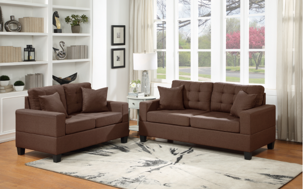 Brown Linen Sofa and Love Seat Set