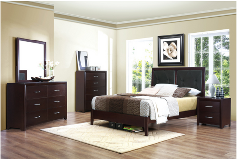 4 pc espresso low profile bedroom set
