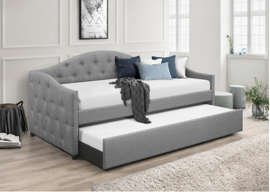 Grey button tufted twin daybed with twin trundle