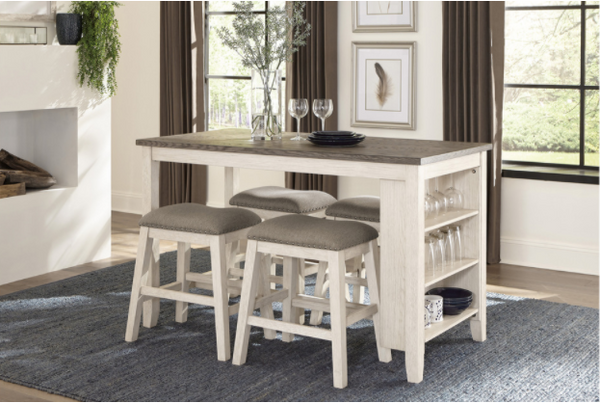 5 piece multifunctional white counter height dining set