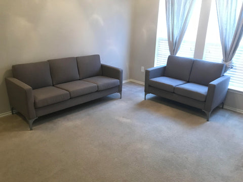 Brownish-grey fabric sofa and loveseat