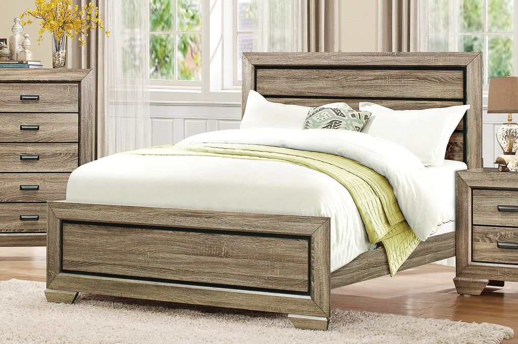 Rustic Light Wood Bed