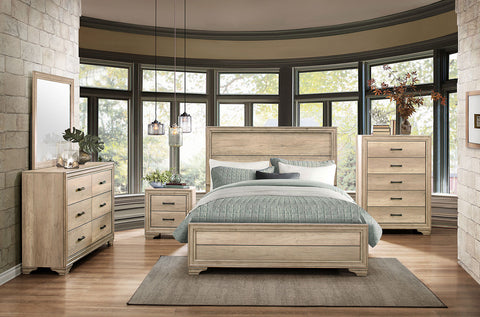Natural wood finish bedroom set