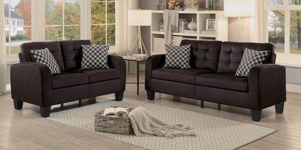Chocolate Brown Tufted Fabric Sofa Set - Sinclair Collection