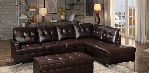 Brown Bi-Cast Vinyl Sectional