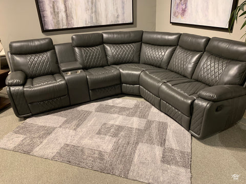 Soft grey leather reclining sectional with cup holders
