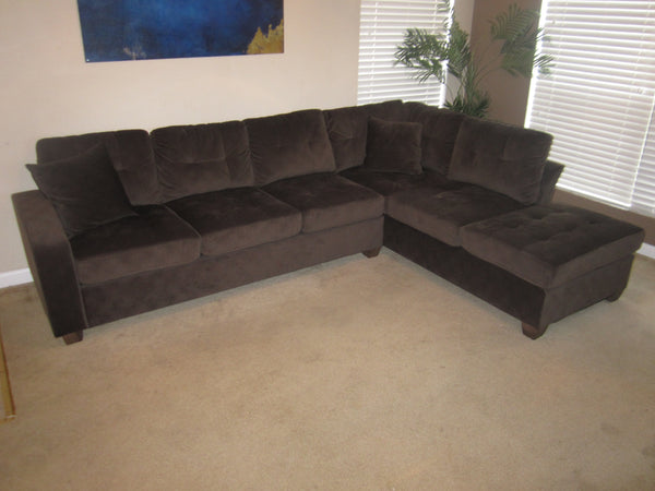 Chocolate Brown Reversible Microfiber Sectional with Chaise Lounge