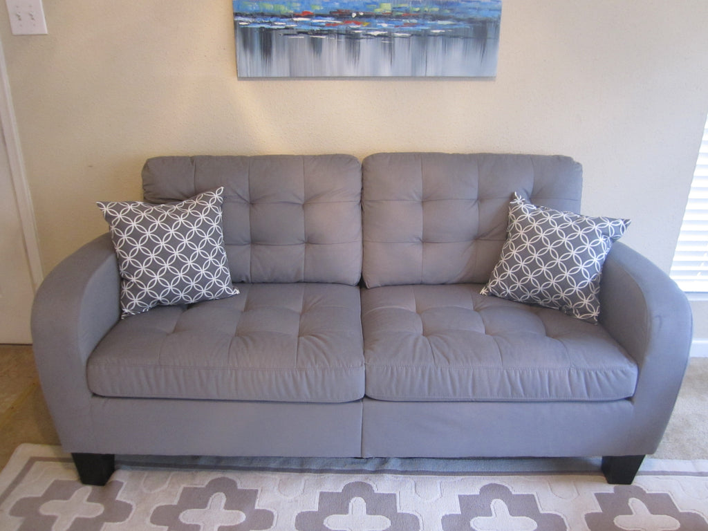 Grey Tufted Fabric Sofa
