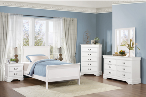 Twin White Sleigh Bedroom Set- Mayville Collection