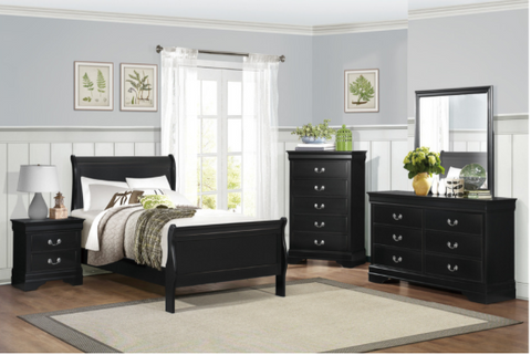 Twin Black Sleigh Bedroom Set- Mayville Collection