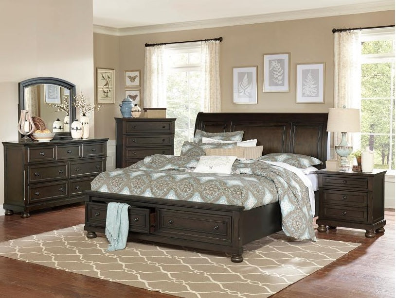 Dark grey master bedroom set with footboard storage